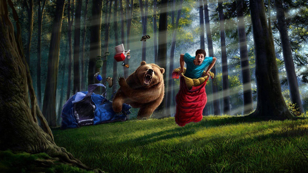 Fantasy_The_man_runs_away_from_the_bear_in_a_sleeping_bag_104463_
