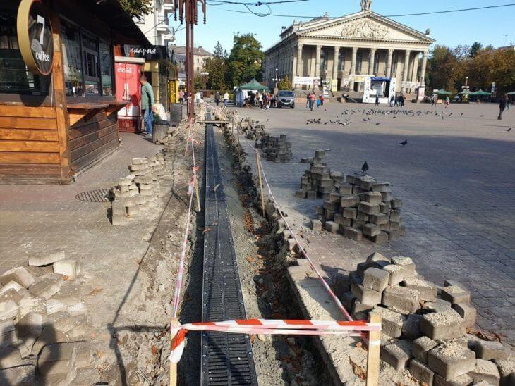 У Тернополі капітально ремонтують систему водовідведення Театрального майдану