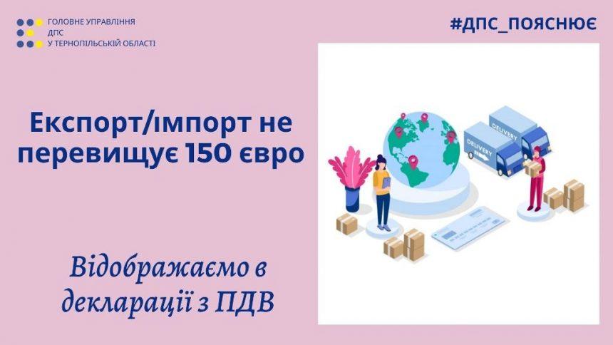 Відображення в декларації з ПДВ експортних та імпортних товарів вартістю до 150 євро