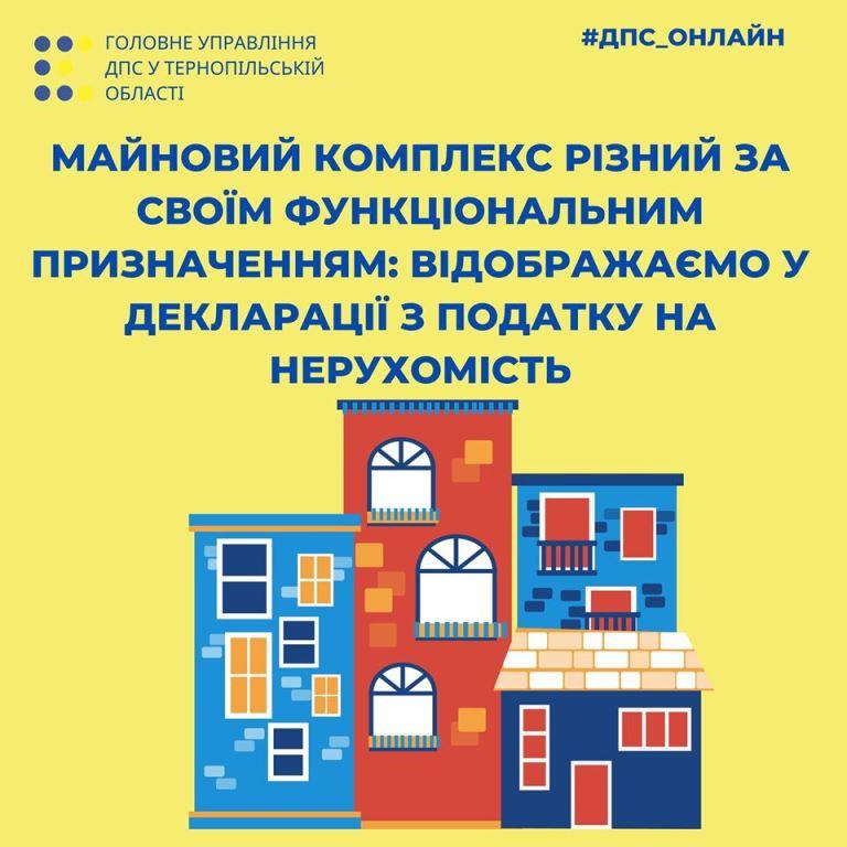 Декларації з податку на нерухомість за майнові комплекси, різні за своїм функціональним призначенням