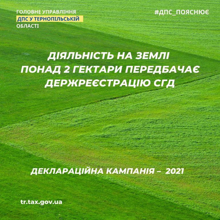 Понад два гектари — реєстрація суб'єктами господарської діяльності