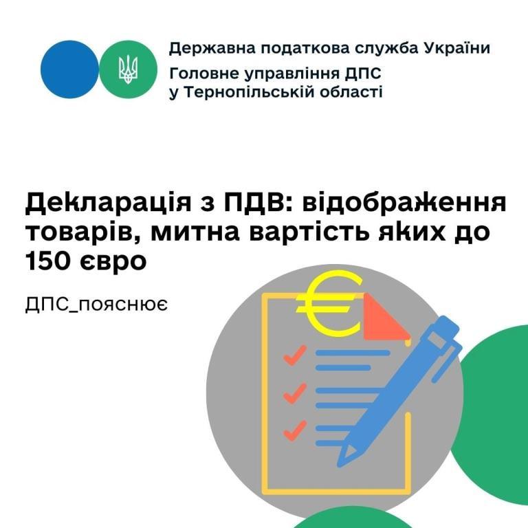Відображення товарів, митна вартість яких не перевищує 150 євро