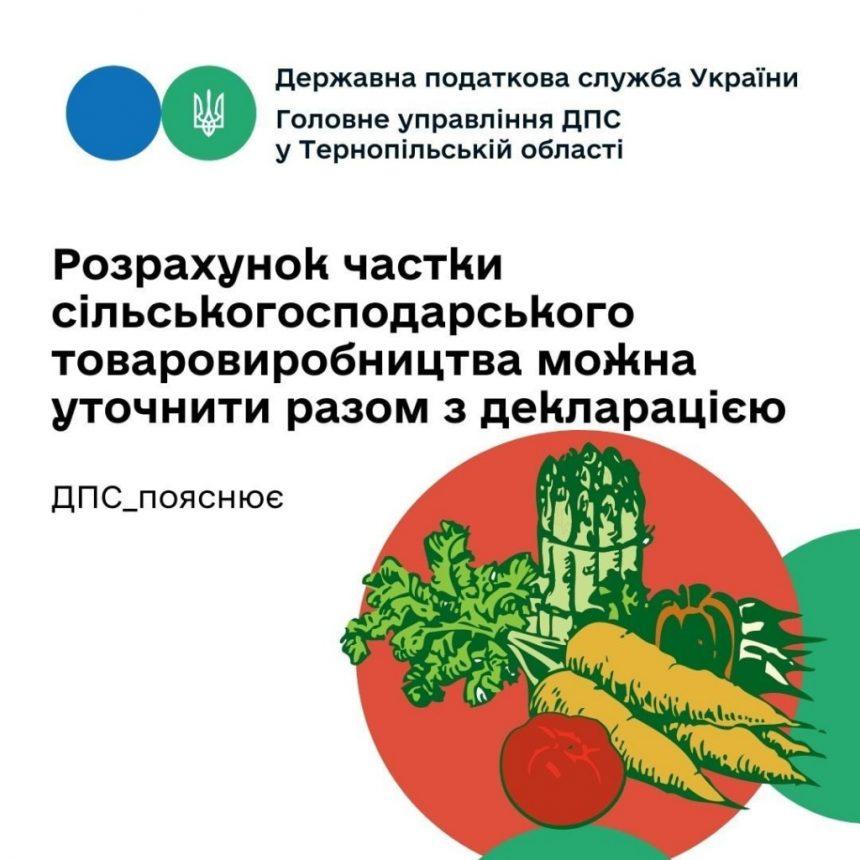 Частку сільськогосподарського товарного виробництва можна уточнити разом і з декларацією