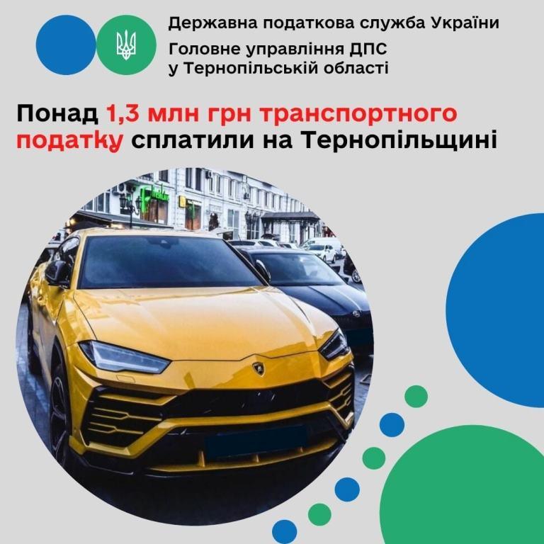 Сплатили понад 1,3 мільйона гривень транспортного податку