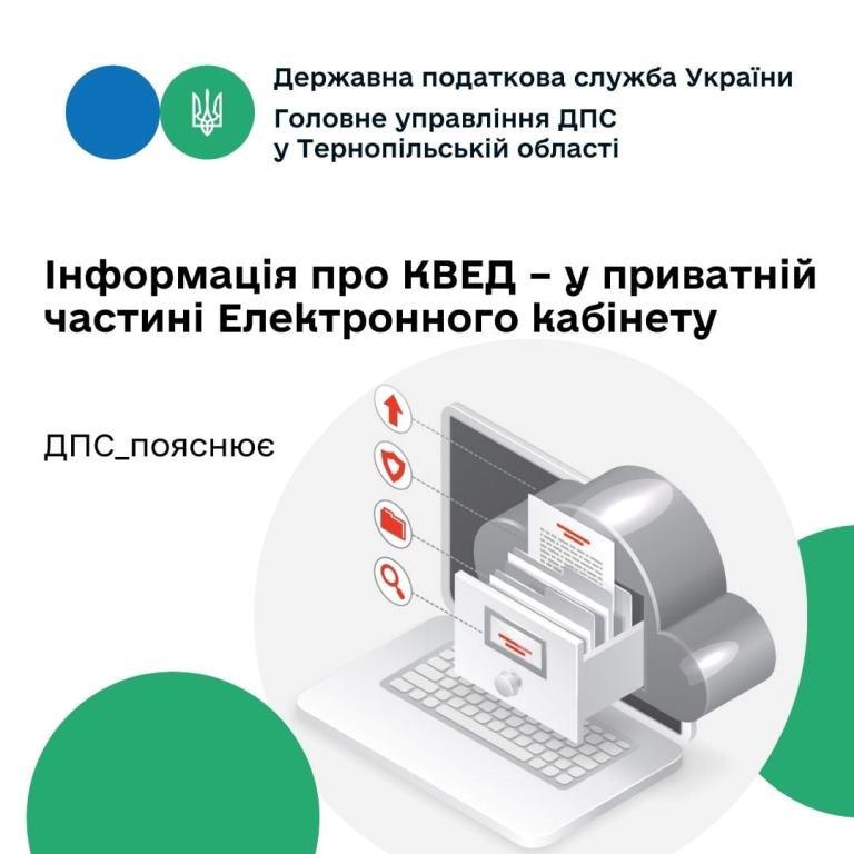 Інформація про КВЕД — у приватній частині електронного кабінету