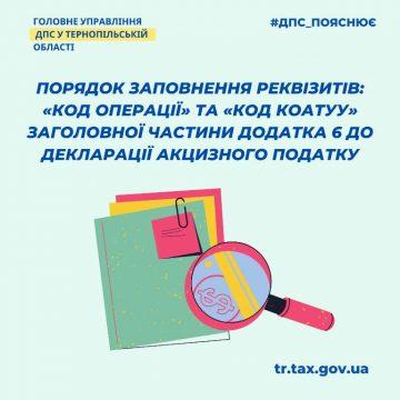 Порядок заповнення реквізитів заголовної частини додатка 6 до декларації акцизного податку
