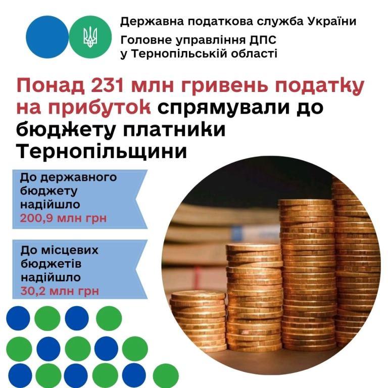Понад 231 мільйон гривень податку на прибуток