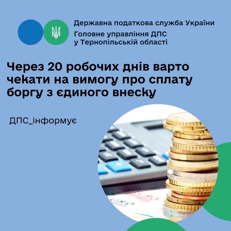 Вимогу про сплату боргу з єдиного внеску надсилають через двадцять робочих днів